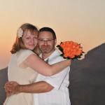 Svatba na Santorini při západu slunce